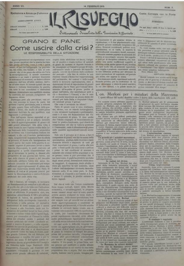 Il Risveglio, 14 febbraio 1915