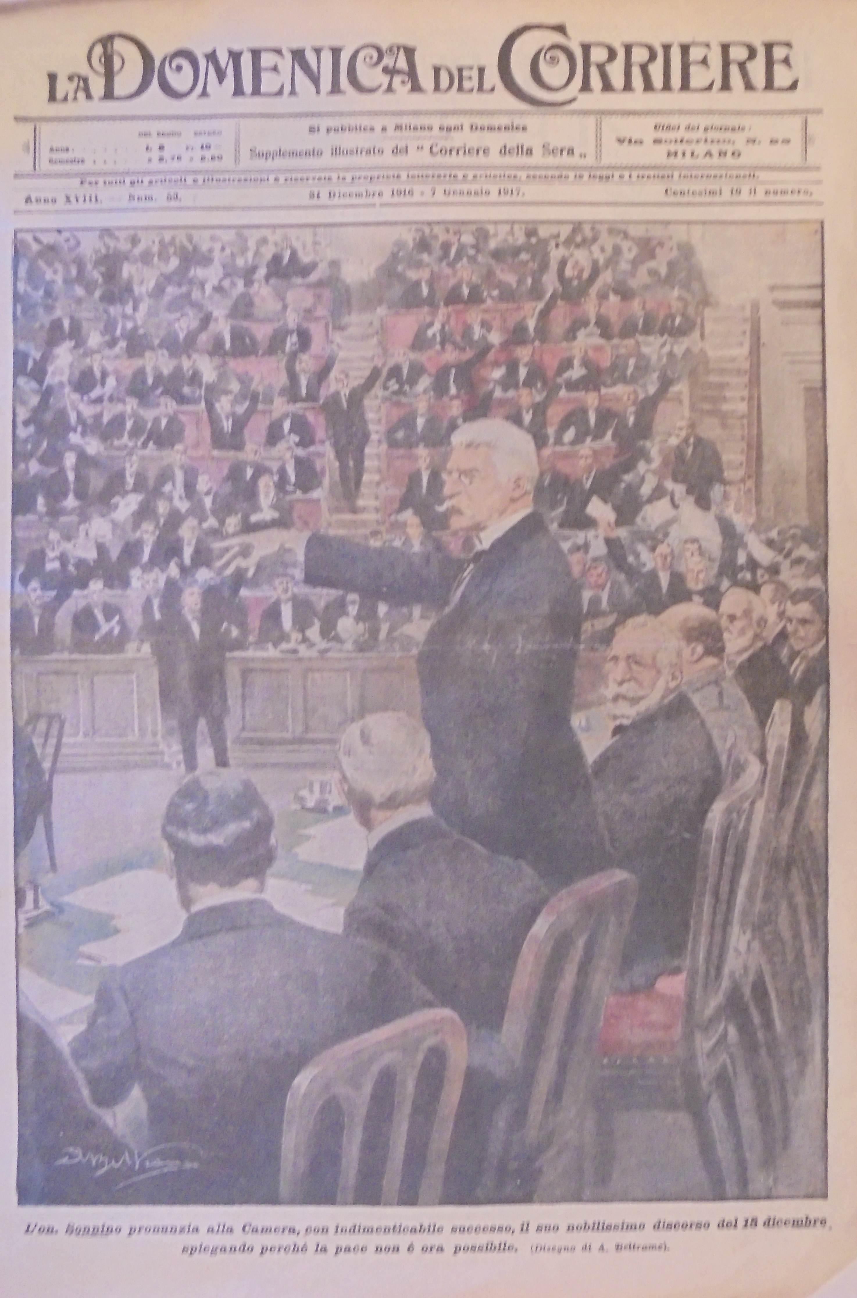 Sonnino alla Camera nella seduta del 18 dicembre 1916 spiega le ragioni dell'inopportunità di una pace separata con Vienna (La Domenica del Corriere)