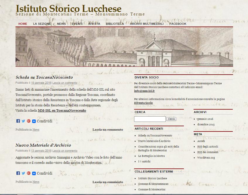 Nuovo sito web dell'Istituto Storico Lucchese