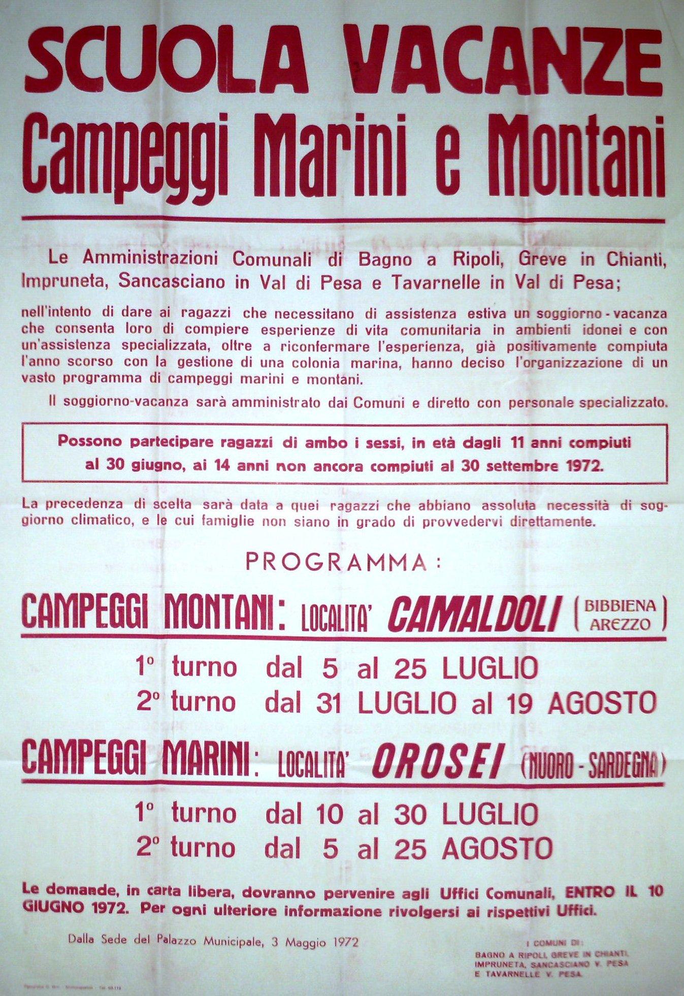 Manifesto e programma dei campeggi estivi del 1972