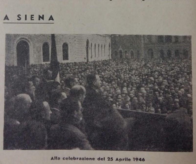 Bardini in Piazza Matteotti a Siena. Comizio per il 25 aprile 1946