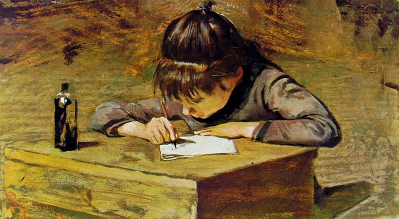 T. Signorini, La bambina che scrive (1935 ca)