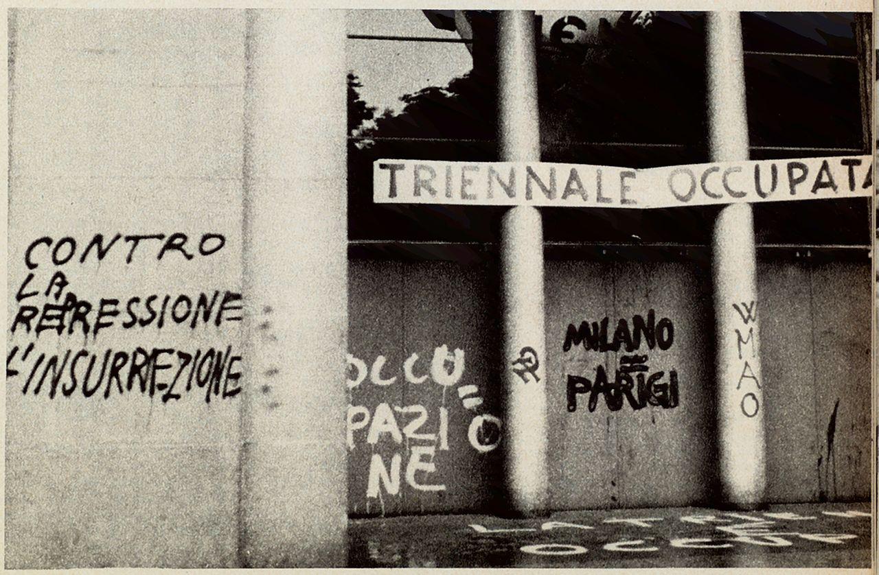 Palazzo della Triennale a Milano nel maggio del 1968