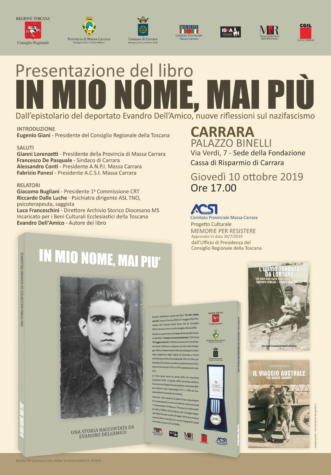 IN MIO NOME, MAI PIU'-Locandina presentazione 10102019