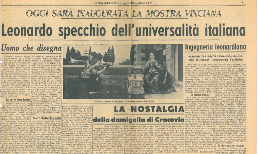 Leonardo specchio dell'universalità italiana, Corriere della sera, 9 maggio 1939, Articolo di giornale