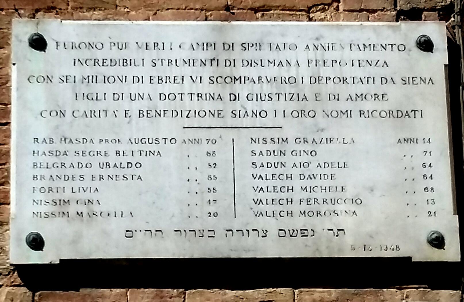 L'epigrafe che ricorda gli ebrei senesi morti nei campi di concentramento,