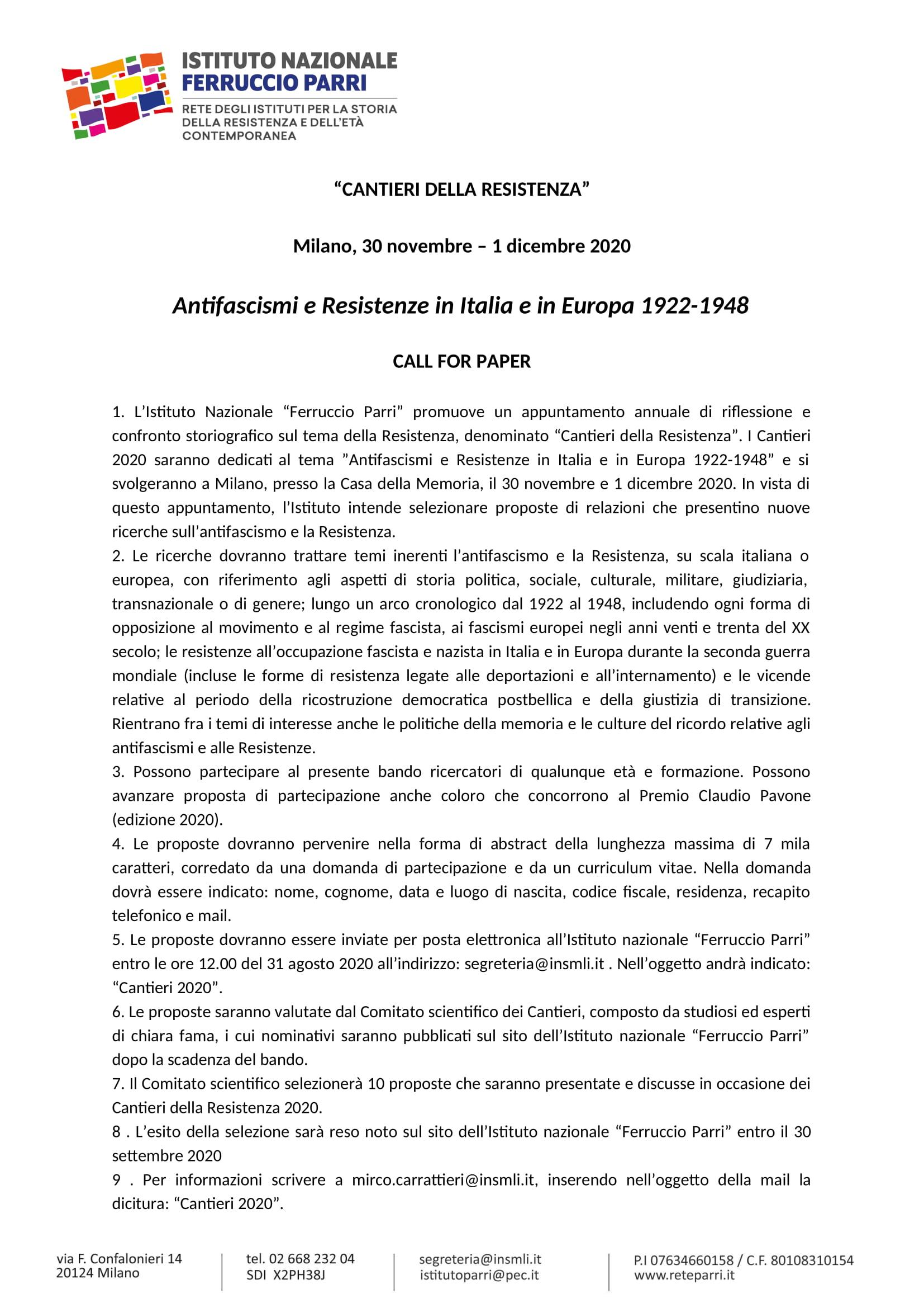 Cantieri Resistenza_Bando 2020-1