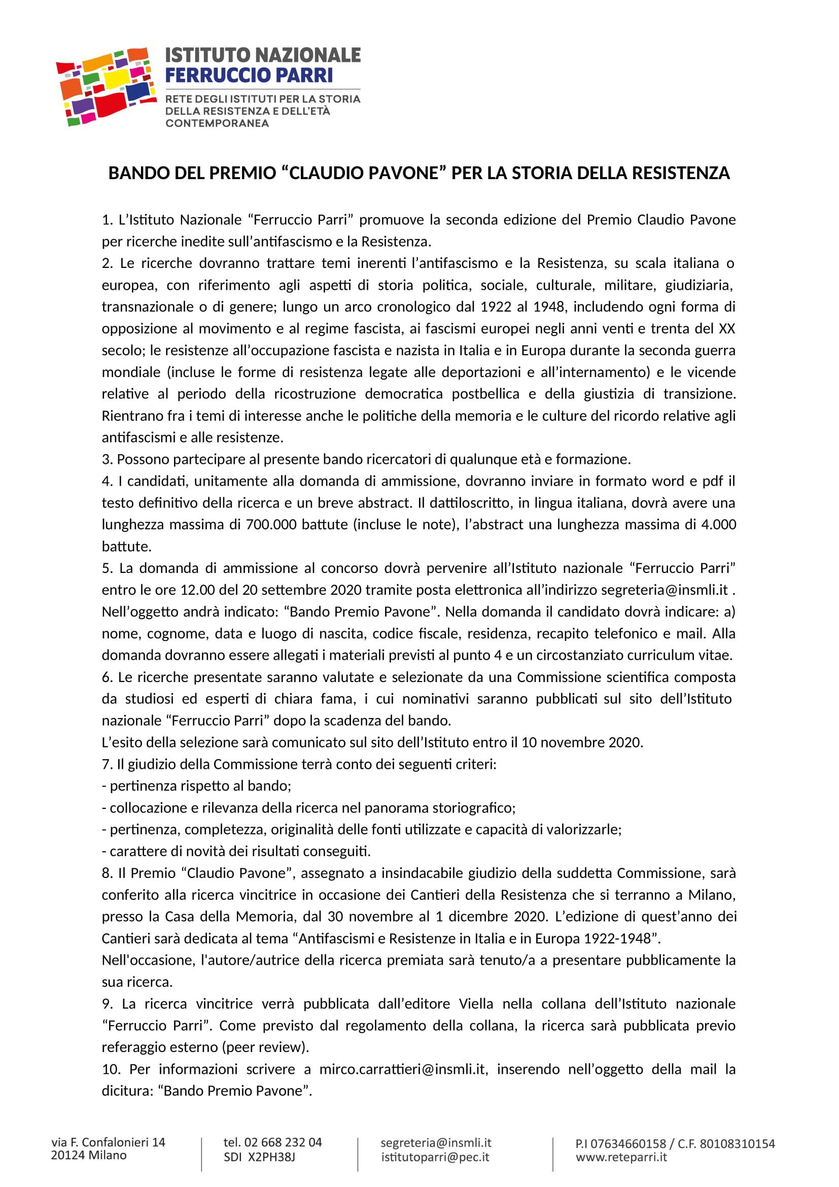 Premio Pavone_Bando 2020-1