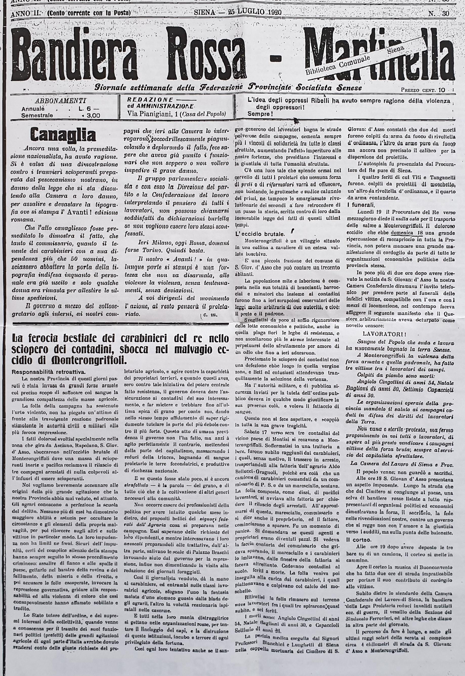 Bandiera Rossa Martinella 25 luglio 1920