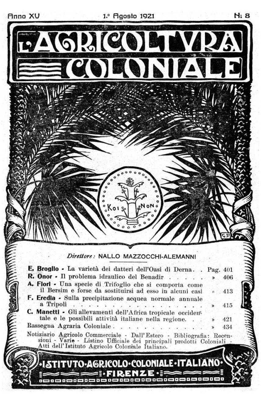 """Rivista dell'IAO """"L'Agricoltura Coloniale"""", 1921"""