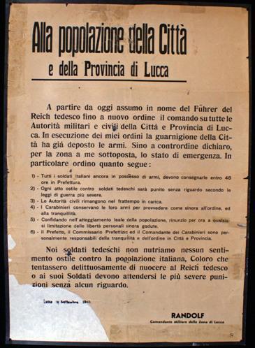 Manifesto con la dichiarazione dello stato di emergenza dopo l'8 settembre