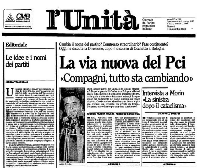 L'Unità del 14 novembre 1989