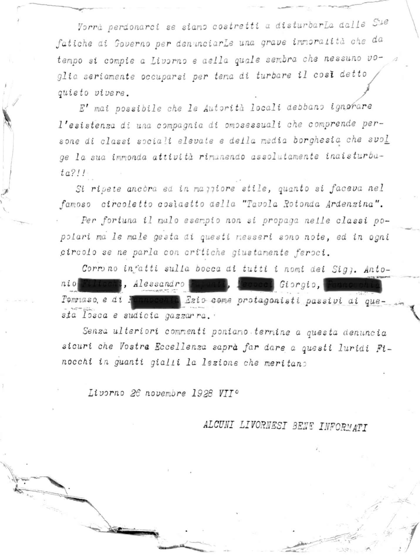 Archivio di Stato di Livorno (ASLi), Questura, A1 «Informazioni Personali», b. 59, fasc. 34 «Antonio F. ed altri», Denuncia anonima (26 novembre 1928)