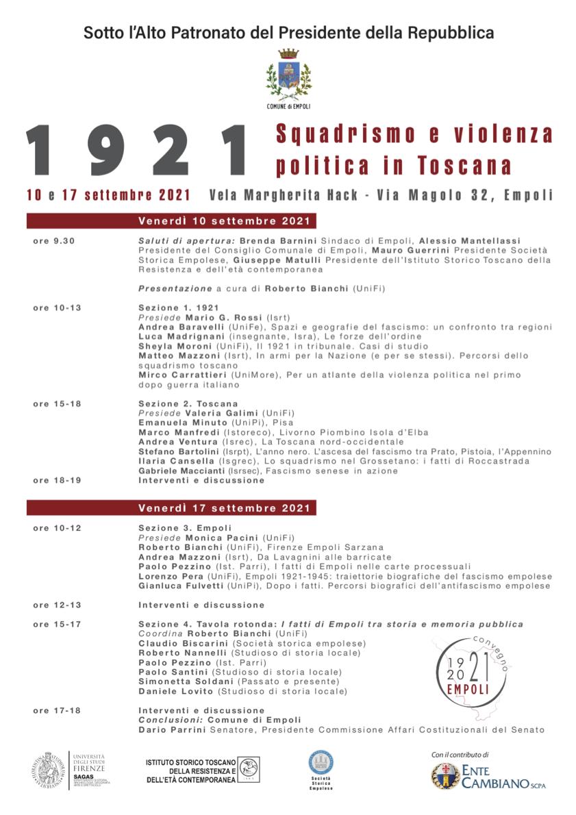 1921. Squadrismo e violenza politica in Toscana - programma ed invito email copia